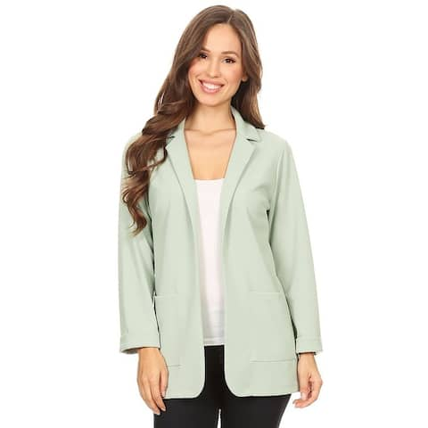 Women's Solid Casual Loose Fit Blazer Jacket