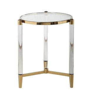 Somette Dante Brass Clear/Silver Round Lamp Table