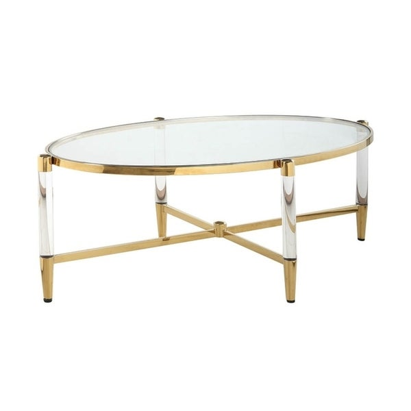 Somette Dante Clear/Silvertone Glass/Acrylic/Brass Oval Cocktail Table