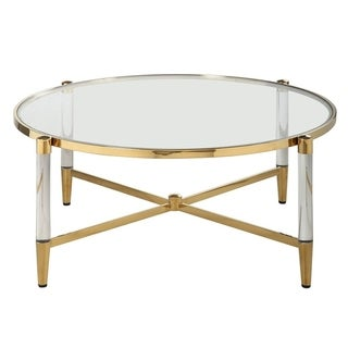 Somette Dante Brass/Goldtone Acrylic/Steel/Glass Round Cocktail Table