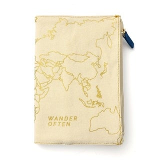'Wander Often' Canvas Print Covered Journal with Zipper Pouch - 8.5 x 11.5 inches