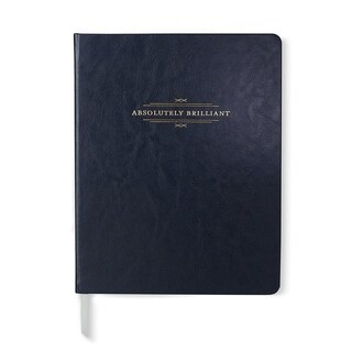 Navy Blue & Gold Foil Faux Leather Journal - 7.5 x 9.5 inches