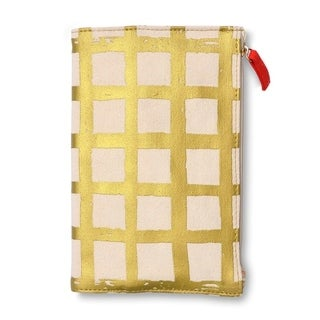 Gold Canvas Covered Journal with Zipper Pouch & Pocket - 5.75 x 8.5 inches