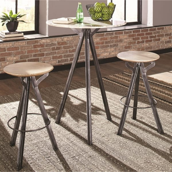 Rustic Design Mango Wood And Iron Marble Top Bar Table Set