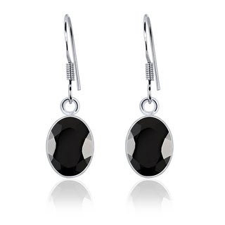 Onyx Sterling Silver Oval Dangle Earrings by Orchid Jewelry