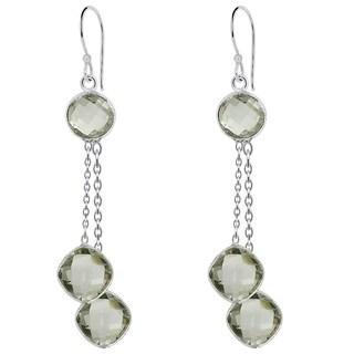 Essence Jewelry 8.95 Carat Genuine Green Amethyst 925 Sterling Silver Chain Drop Earrings