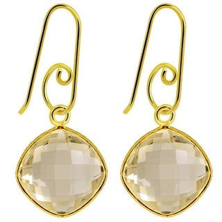 Essence Jewelry 14k Yellow Gold Overlay Sterling Silver 12 1/5 Carat Citrine Earrings
