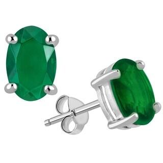 Essence Jewelry 925 Sterling Silver 2.25ct Emerald Gemstone Oval Stud Earrings