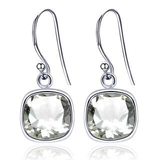 Essence Jewelry Sterling Silver 3.00 Ct Cushion Cut Green Amethyst Simple Dangle Earrings