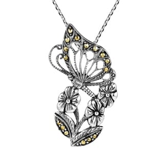 Handmade Morning Butterfly Flower Sterling Silver Marcasite Necklace Thailand