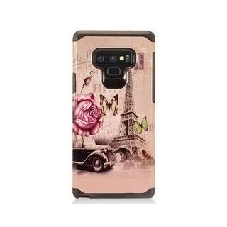 Insten Pink Eiffel Tower Dual Layer Hybrid PC/TPU Rubber Case Cover Compatible With Samsung Galaxy Note 9