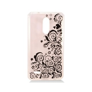 Insten Clear/Black Lace Style 1 TPU Rubber Candy Skin Case Cover LG K10 (2018)/K30 (X410)/Premier Pro LTE