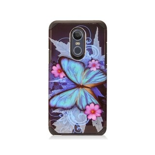 Insten Blue Butterfly Dual Layer Hybrid PC/TPU Rubber Case Cover Compatible With LG Stylo 4