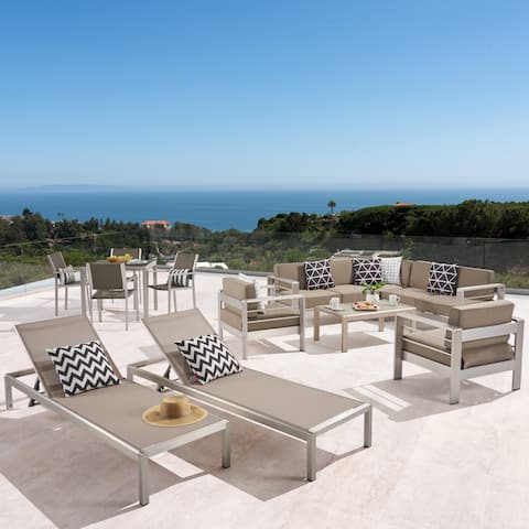Cape Coral Outdoor Dining Set + Sectional Sofa Set + Club Chairs + Chaise Lounges + Coffee Table by Christopher Knight Home