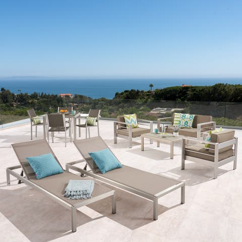 Cape Coral Outdoor Dining Set + Conversation Set + Chaise Lounges + Coffee Table by Christopher Knight Home