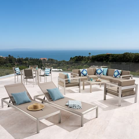Cape Coral Outdoor Dining Set + Sectional Sofa Set + Club Chairs + 2 Chaise Lounges + Coffee Table by Christopher Knight Home
