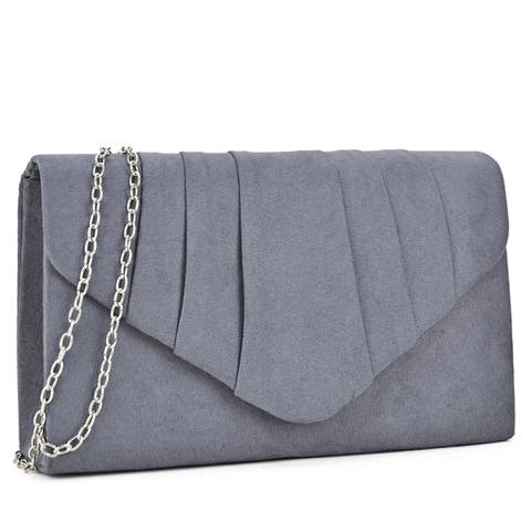 Velvety Evening Clutch with Removable Chain Strap