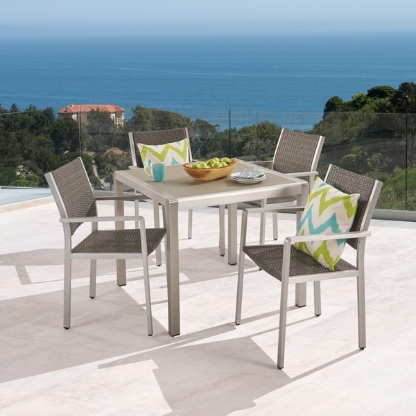 Cape Coral Outdoor 4-Seater Aluminum and Tempered Glass Dining Set by Christopher Knight Home. Opens flyout.