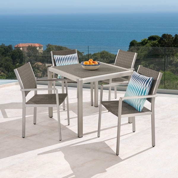 Cape Coral Outdoor 4-Seater Aluminum and Wicker Dining Set by Christopher Knight Home