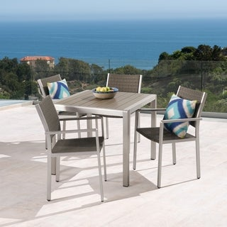 Cape Coral Outdoor 4-Seater Aluminum and Faux Wood Dining Set by Christopher Knight Home