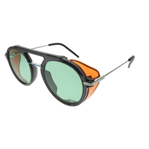 39a38bd0e315 Fendi Men Round FF M0012 Fendi Fantastic KB7 Unisex Grey Frame Green Lens  Sunglasses