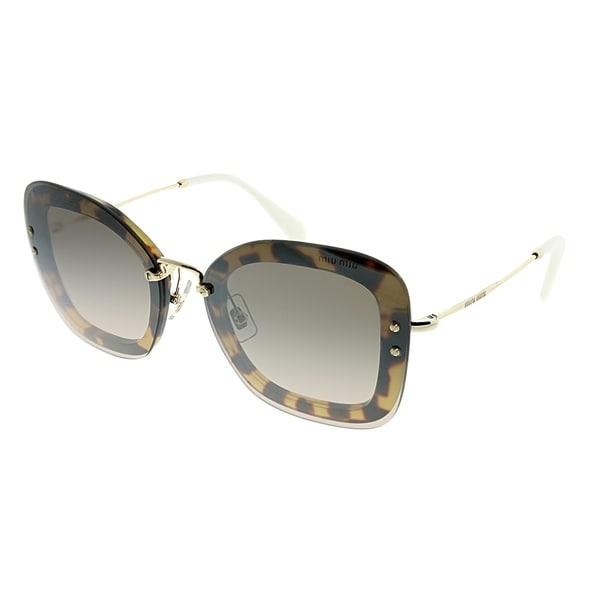 6566f35f5f95 MIU MIU Square MU 02TS 7S04P0 Women Light Havana Frame Silver Mirror Lens  Sunglasses