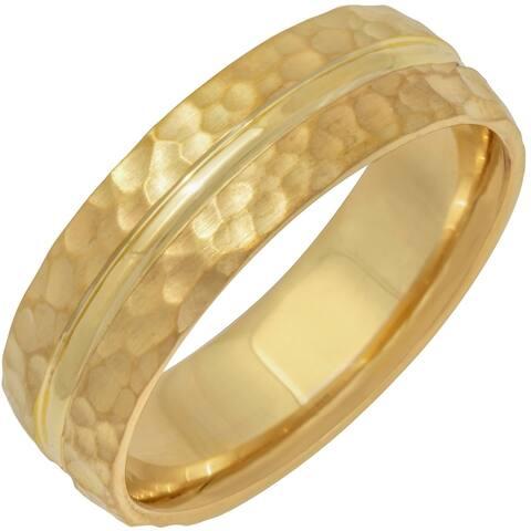14k Yellow Gold Split Hammer Design Comfort Fit Men's Wedding Bands