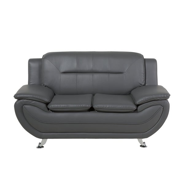 Shop 2 Seater Faux Leather Sofa Gray LEIRA - On Sale - Free Shipping ...