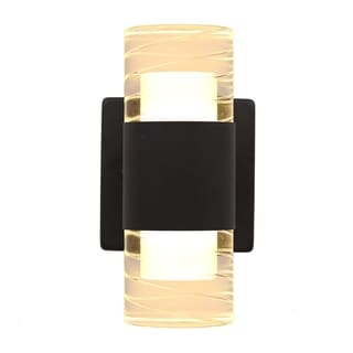 2-light Black LED Indoor/Outdoor Wall Sconce