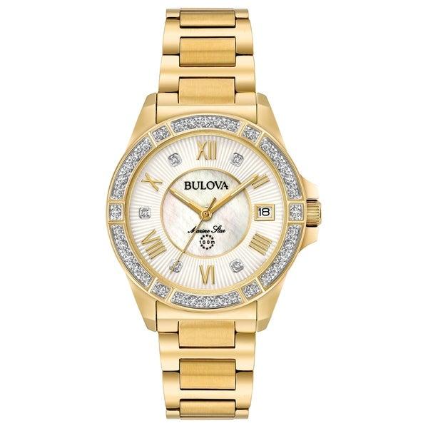 4f9ad41d485 Bulova Women  x27 s 98R235 Marine Star Goldtone Diamond Accent Bracelet  Watch - Gold