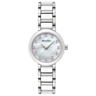 Bulova Women's 98P158 Stainless and Ceramic Diamond Accent Dial Bracelet Watch - Two-tone