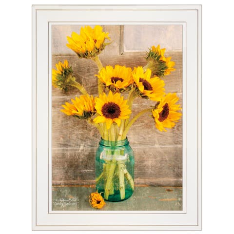 """""""Country Sunflowers I"""" by Anthony Smith, Ready to Hang Framed print, White Frame"""