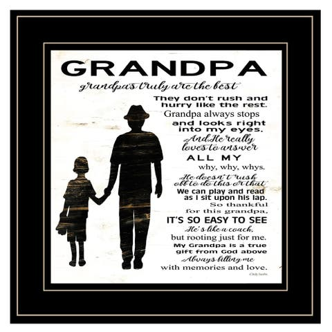 """""""My Grandpa is the Best"""" by Cindy Jacobs, Ready to Hang Framed Print, Black Frame"""