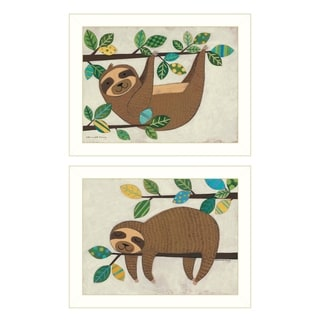 """Cute Sloths"" 2-Piece Vignette by Bernadette Deming, White Frame"