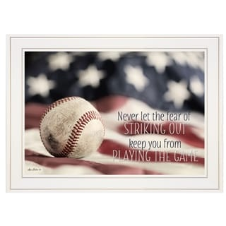 """""""Baseball - Playing the Game"""" by Lori Deiter, Ready to Hang Framed Print, White Frame"""