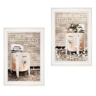 """Laundry Room"" 2-Piece Vignette by Lori Deiter, White Frame"