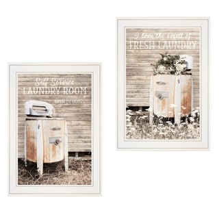 """Laundry Room"" 2-Piece Vignette by Lori Deiter, White Frame"