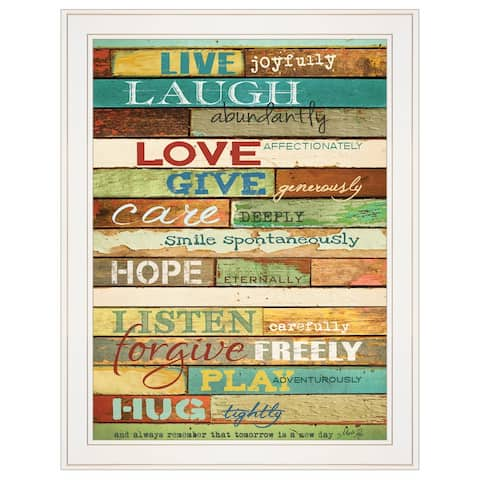 """Live Joyfully"" by Marla Rae, Ready to Hang Framed print, White Frame"