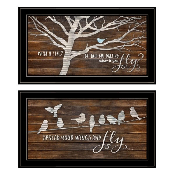 """Spread Your Wings"" 2-Piece Vignette by Marla Rae, Black Frame"