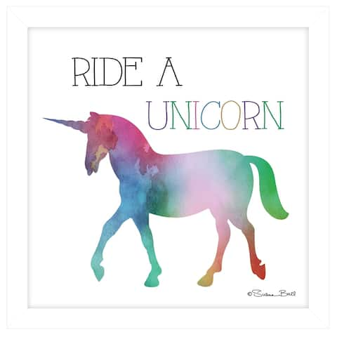 """""""Ride a Unicorn"""" by Susan Ball, Ready to Hang Framed print, White Frame"""