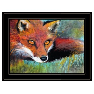 """Fox Prowl"" by Sharlena Wood, Ready to Hang Framed Print, Black Frame"