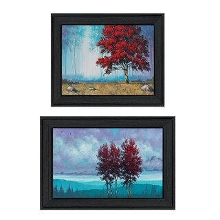 """Red Trees"" 2-Piece Vignette by Tim Gagnon, Black Frame"