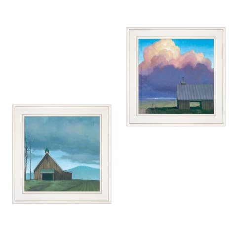 """""""Two Barnscapes"""" 2-Piece Vignette by Tim Gagnon, White Frame"""