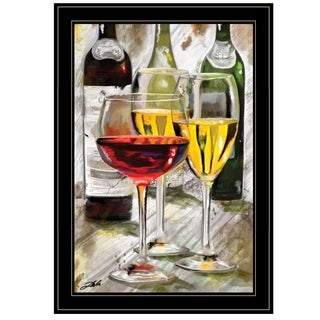 """Three Wine Glasses"" by Tim Dardis, Ready to Hang Framed Print, Black Frame"