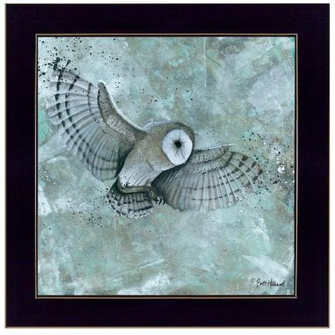 """Simplicity Owl"" by Britt Hallowell, Ready to Hang Framed Print, Black Frame"