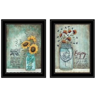 """""""Enjoy the Little Things/Happiness"""" 2-Piece Vignette by Tonya Crawford, Black Frame"""