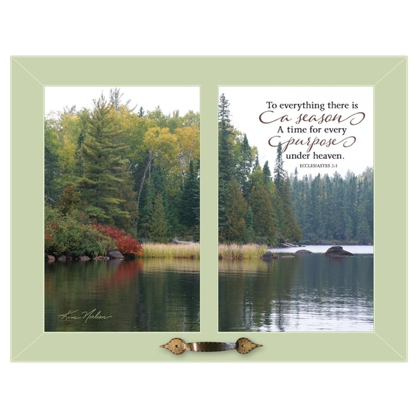 """""""To Everything"""" by Kim Norlien, Ready to Hang Framed Print, Green Frame"""