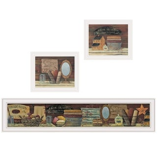 """COUNTRY BATH II"" 3-Piece Vignette by Pam Britten, White Frame"