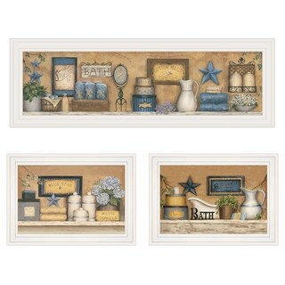 """""""Starlight Bath Collection"""" 3-Piece Vignette by Carrie Knoff, White Frame"""