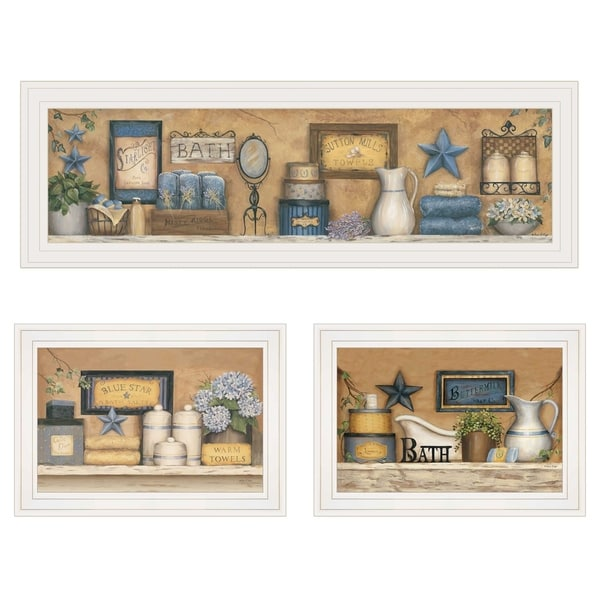 """Starlight Bath Collection"" 3-Piece Vignette by Carrie Knoff, White Frame"
